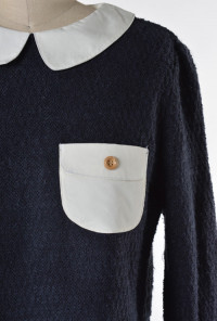 Contrast Collar Long Sleeve Crop Top by Comme Toi