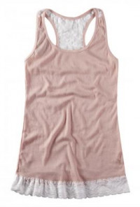 Pink Lace Back Tank Top