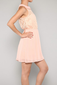 pink Sleeveless Peter Pan Collar Lace Dress