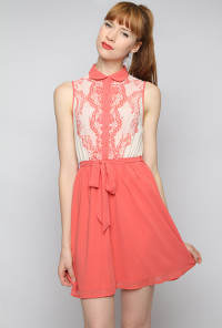 coral Lace Print Bodice Sleeveless Twofer Dress