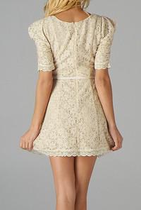 Ivory Floral Embroidered Belted Dress