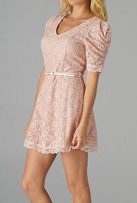 Pink Floral Embroidered Belted Dress