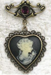 Brooch - Royal Reign Victorian Heart Cameo Brooch