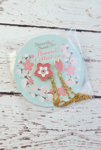 Cherry Blossom and Petal Chain Collar Pins