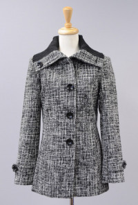 Salt and Pepper Crosshatch Tweed Ribbed Collar Coat