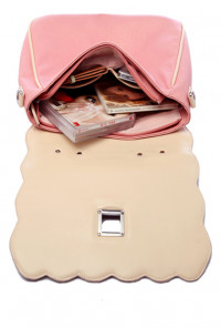Scallop Edge Pink Cream Handbag