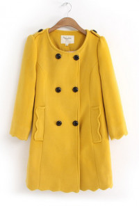 Scalloped Hem Peacoat in Mustard