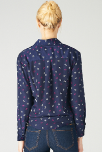 Anchor Print Long Sleeve Blouse in Navy