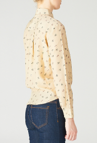 Anchor Print Long Sleeve Blouse in Taupe