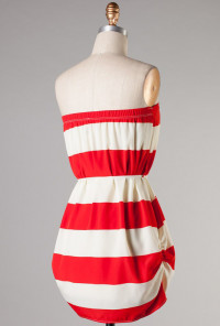 red Ruched Stripe Strapless Dress
