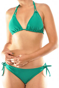 Sirens Lagoon Double Halter Tie cute Bikini Set in Emerald