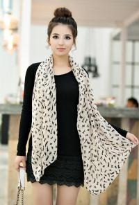 beige cat print scarf