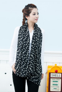 black cat print scarf