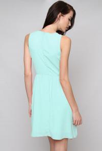 mint blue Sleeveless Binding and Lace Dress