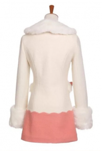 Sweet Vintage Fur Collar Swing Coat in Pink