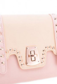 Clutch - Social Butterly Colorblock Studded Oversized Beige Pink Clutch