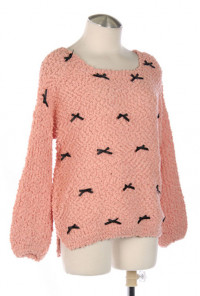 Peachy Pink Bow Trim Sweater