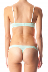 Soft Temptations Lace Trim Push-Up Bra and Panty Set in Mint Green