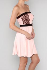 Pink Strapless Eyelash Lace Applique Dress