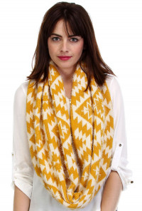 mustard Navajo Pattern Fuzzy Scarf