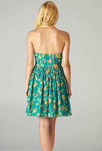 Strapless Floral Print Sweetheart Skater Dress