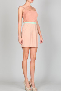pink Pleated Spaghetti Strap Dress with Pockets