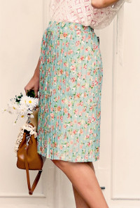 Floral Accordion Pleat Midi Skirt