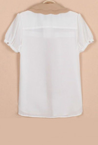 Scallop Collar Chiffon Blouse
