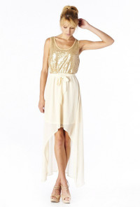 Sequin Accent high low Dress in Gold