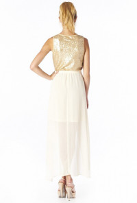 Sequin Accent Hi-Lo Dress in Gold/Cream