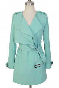 Storm Flap Fitted Trench Coat in Mint Green