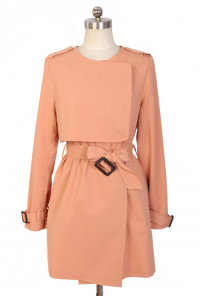 Storm Flap Fitted Trench Coat in Sweet Pink
