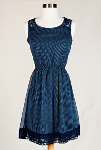 Lace Yoke Polka Dot Print Dress in Navy Blue