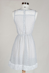white Lace Yoke Polka Dot Print Dress