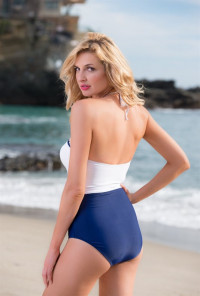 retro Scallop One Piece Swimsuit in Navy/White