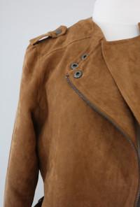 Suede Moto Jacket in Camel
