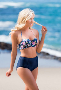 Floral High Waist Bikini Set in Navy