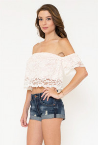 Lace Off Shoulder Crop Top in Cream
