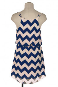 navy Double Strap Chevron Print Dress