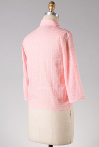 pink Lace Inserted Button Blouse