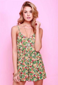 Palm Leaf Floral Romper in Lime/Pink