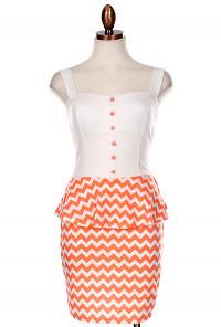 Coral Chevron Print Bow Back Peplum Dress