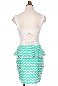 mint Chevron Print Bow Back Peplum Dress