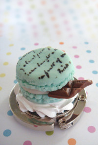Sweet Confections Mint Macaron With Chocolate Purse Hanger
