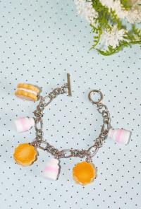 Bracelet - Sweet Dreams Milk and Cookies Charm Bracelet in Pink
