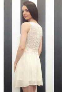 Cream Floral Crochet Sleeveless Layered Babydoll Dress