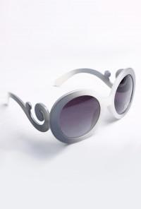 Sunglasses - Fanciful Twist Baroque Swirl Arm Marbled Grey Sunglasses