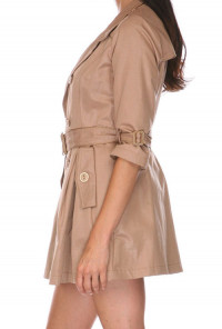 Tan Double Breasted Belted 3-4 Sleeve Trench Coat