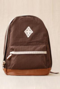 Backpack - Telegram Romance Crochet Lace Trim Canvas Mocha Backpack