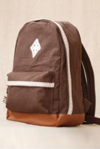 Lace Trim Canvas Mocha Backpack